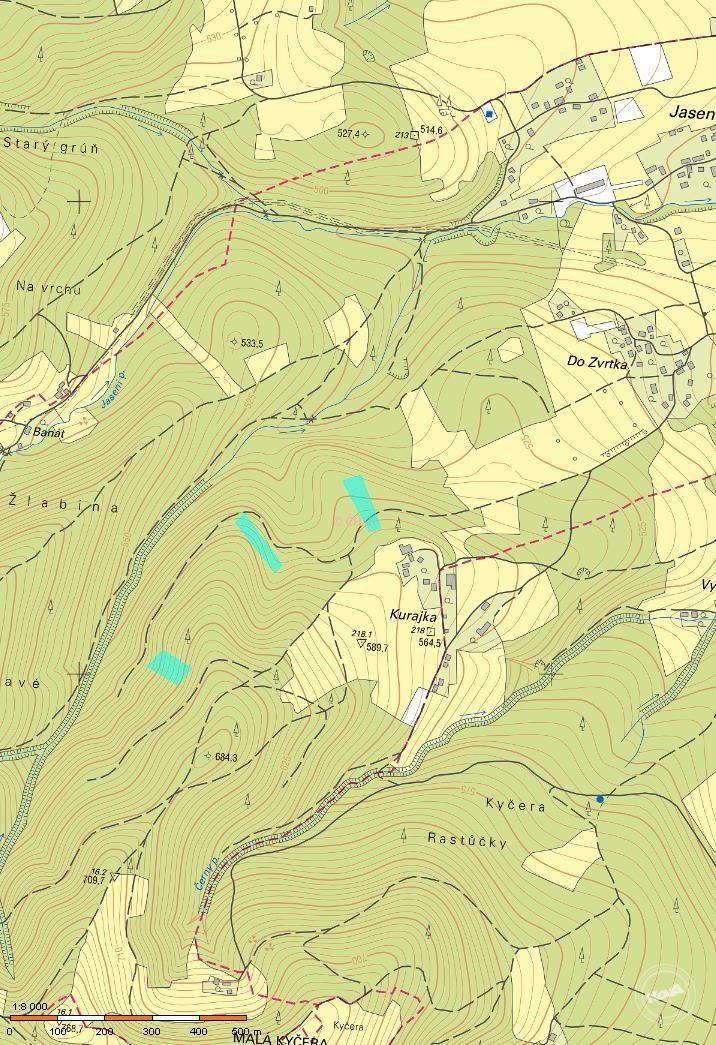 Prodej lesních pozemků o celkové výměře 10 696 m2 v k.ú. Návsí, Frýdek - Místek