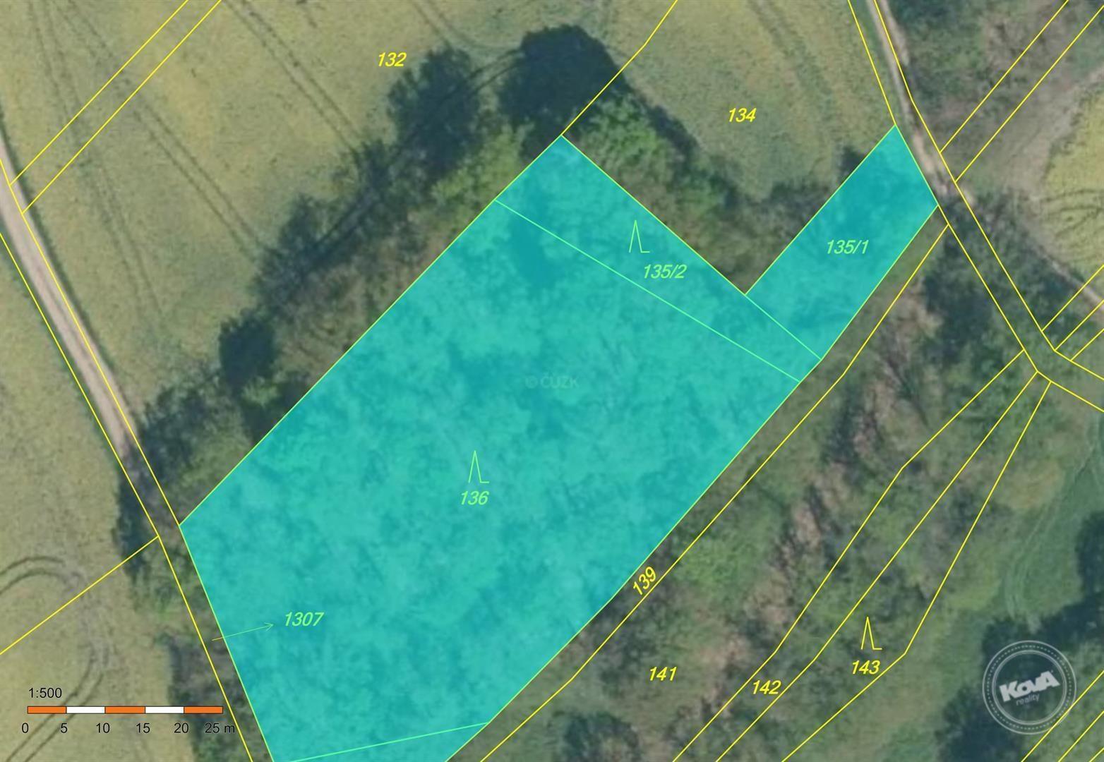 Dražba lesních pozemků cca 4 000 m2, kú. Vanov